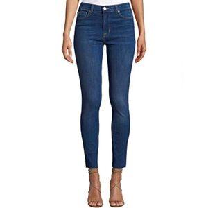 Hudson Blair High Rise Skinny Jeans Frayed Raw Hem
